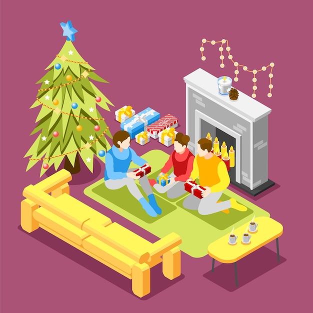Composição isométrica de natal com abertura em tempo especial da manhã da família sob a árvore de abeto