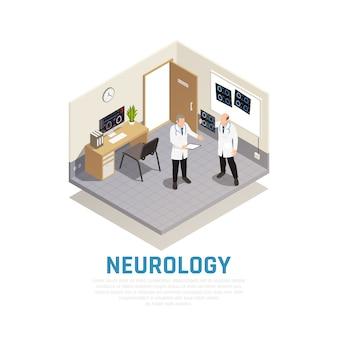 Composição isométrica de neurologia e pesquisa neural com símbolos de saúde