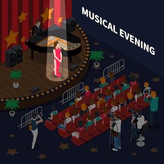 Composição isométrica de noite musical com cantora na cena realizando música de romance para acompanhamento de piano