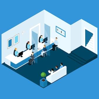 Composição isométrica de office banking
