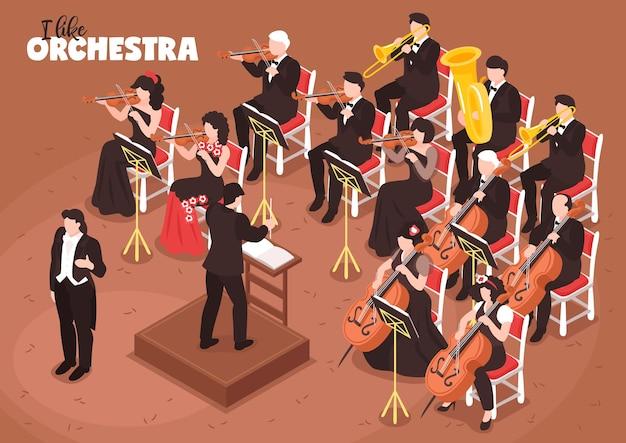Composição isométrica de orquestra de música clássica com cantor maestro dirigindo a performance violino violoncelo tuba baixistas ilustração