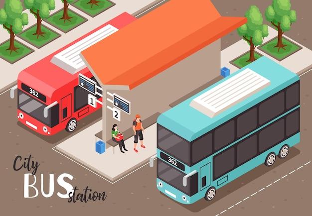 Composição isométrica de parada de ônibus urbano com vista externa de uma parada pública com duas plataformas e pessoas