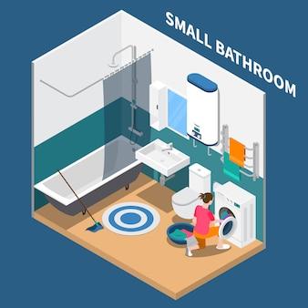 Composição isométrica de pequena sala de banho