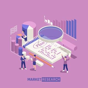 Composição isométrica de pesquisa de mercado com lupa