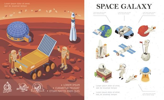 Composição isométrica de pesquisa espacial com base cósmica de foguetes de astronautas rover no planeta marte e ícones de galáxias coloridas