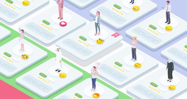Composição isométrica de pessoas da sociedade com imagens conceituais de folhas de trabalho interativas com personagens humanos e emoticons vector a ilustração