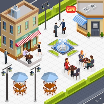Composição isométrica de pessoas de almoço de negócios