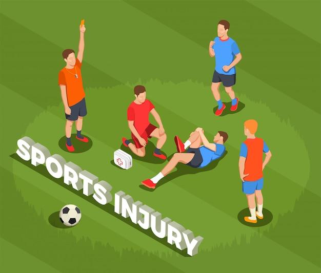 Composição isométrica de pessoas de futebol futebol com texto e imagens do jogador que sofre