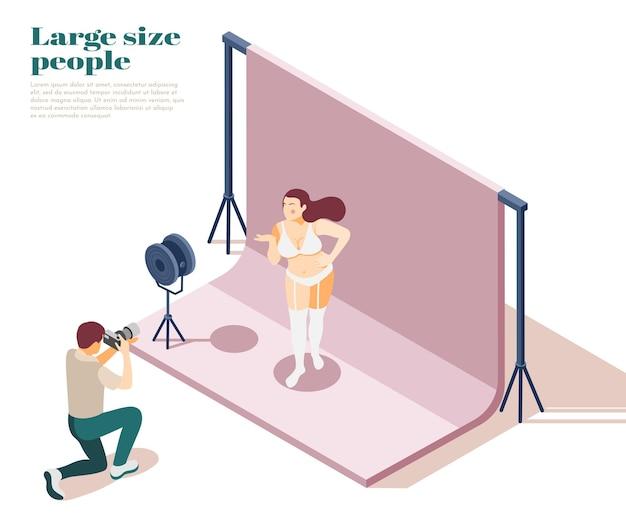 Composição isométrica de pessoas grandes com roupas de baixo tamanho grandes modelagem cena com sobrepeso moda obesidade promovendo ilustração de normalização