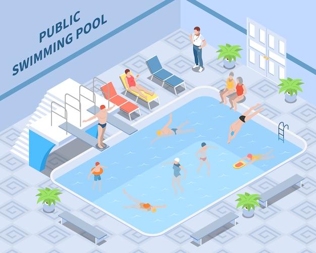 Composição isométrica de piscina pública com visitantes do treinador durante a natação e descanso de elementos interiores