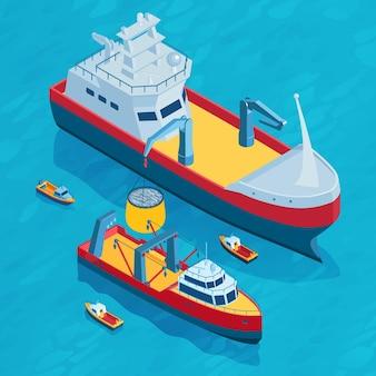 Composição isométrica de praça de pesca comercial com pequenos e grandes barcos equipados com redes de arrasto em um cenário de mar aberto