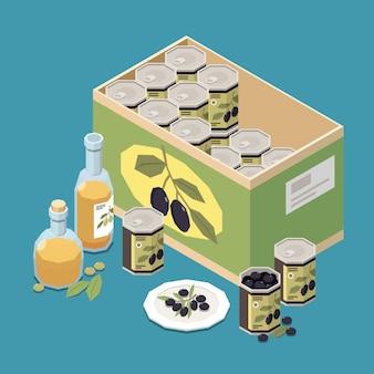 Composição isométrica de produção de azeitona com produtos prontos, garrafas de azeite e caixinha