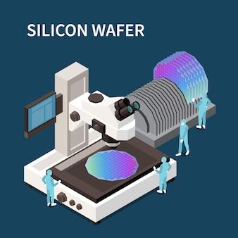 Composição isométrica de produção de chip semicondutor