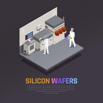 Composição isométrica de produção de chip ssemiconductor com imagens de equipamento eletrônico de laboratório fornece instalações de produção e ilustração vetorial de pessoas