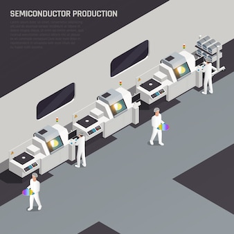Composição isométrica de produção de chip ssemiconductor com texto editável e fabricante de alta tecnologia com caracteres de ilustração vetorial de trabalhadores