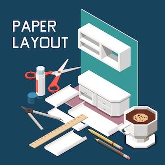 Composição isométrica de produção de móveis de carpintaria com armários de cozinha layout de papel 3d tesoura régua café