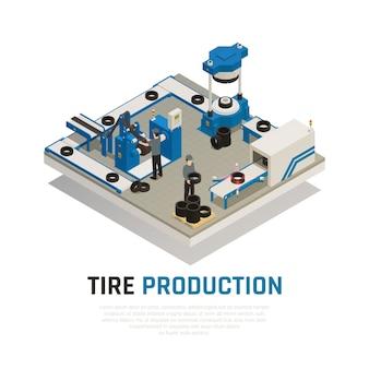 Composição isométrica de produção de pneus com equipamentos industriais para fabricação e manutenção de rodas de automóveis