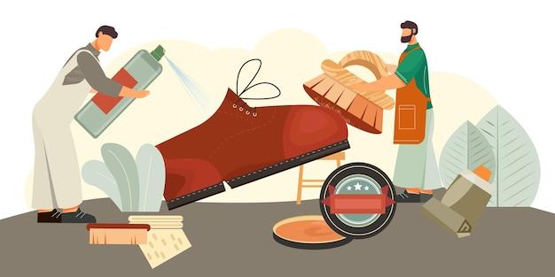 Composição isométrica de produtos para limpeza de calçados com proteção de couro de camurça à prova d'água escovas em spray cremes