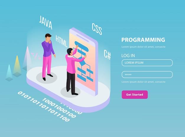 Composição isométrica de programação freelance com dois programadores no trabalho e faça logon na ilustração de linhas de senha