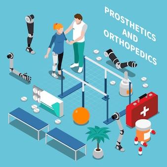Composição isométrica de próteses e ortopedia