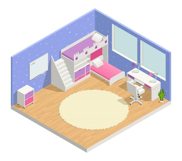 Composição isométrica de quarto de crianças com mesa de cama e quadro-negro
