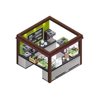Composição isométrica de quiosque de café