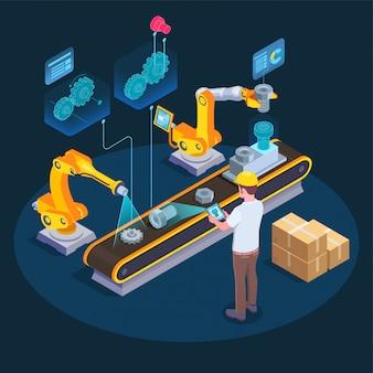 Composição isométrica de realidade aumentada industrial