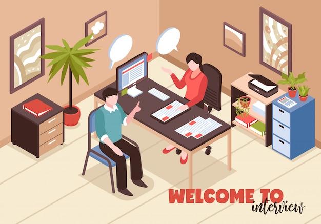 Composição isométrica de recrutamento de busca de emprego com interior de sala de texto e escritório com hora e candidato a emprego