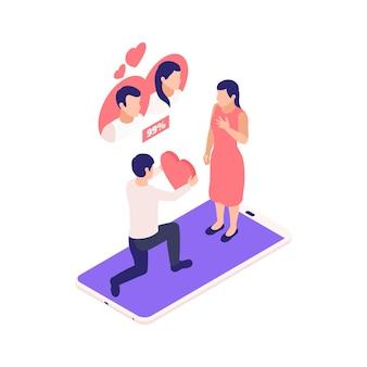Composição isométrica de relacionamentos virtuais de namoro online com homem dando coração para mulher em cima de ilustração de smartphone