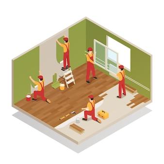 Composição isométrica de renovação em casa
