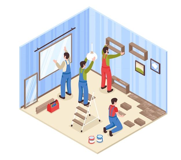 Composição isométrica de reparação de sala com elementos interiores