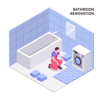 Composição isométrica de reparação de sala de banho na cor azul branca