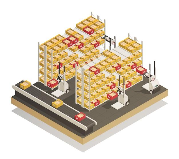 Composição isométrica de reposição de prateleiras de supermercado