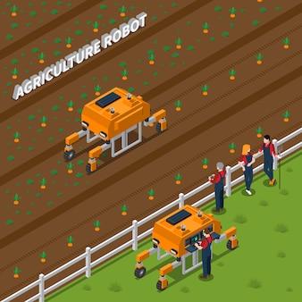 Composição isométrica de robô agrícola