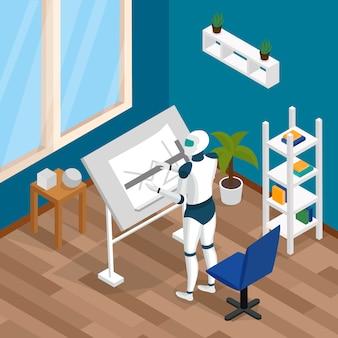 Composição isométrica de robô criativo