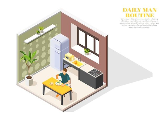 Composição isométrica de rotina diária com homem tomando café da manhã na cozinha