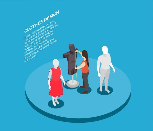 Composição isométrica de roupas de moda