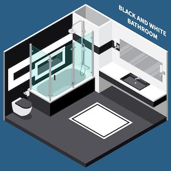 Composição isométrica de sala de banho