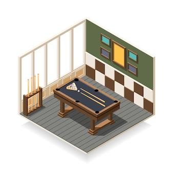 Composição isométrica de sala de bilhar