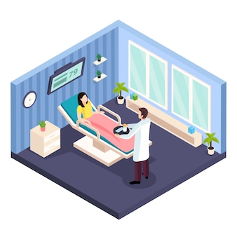 Composição isométrica de saúde da mulher com vista interna do paciente do quarto de hospital e caracteres de consultoria médica