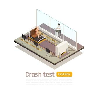 Composição isométrica de segurança de carro para teste de colisão com texto de botão para ler mais e imagens de unidades de sala de teste