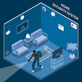 Composição isométrica de segurança em casa com ladrão na sala equipada com sistema de alarme a laser e sensores diferentes