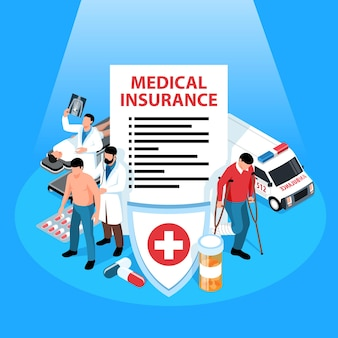 Composição isométrica de seguro isolada com s de acordo escudo medicina pílulas ambulância e personagens de médicos