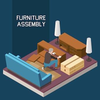 Composição isométrica de serviço de carpinteiro de montagem de móveis com cômoda de fazer homem na sala de estar