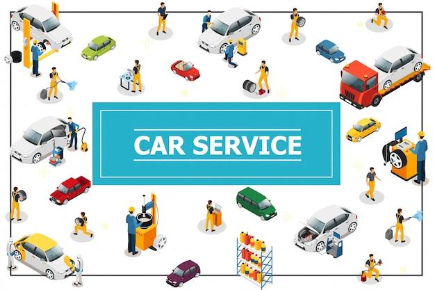 Composição isométrica de serviço de carro e pneu com trabalhadores profissionais em processo de reparação de automóveis diferentes modelos e tipos de carros no quadro