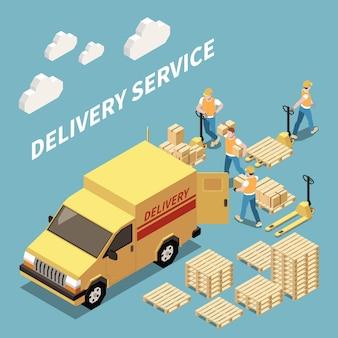 Composição isométrica de serviço de entrega com trabalhadores carregando mercadorias ilustração em vetor isométrica 3d