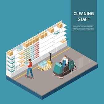 Composição isométrica de serviço de limpeza profissional com buffer de piso de armazenamento em armazém maquinaria industrial pesada