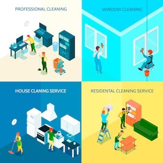 Composição isométrica de serviço de limpeza