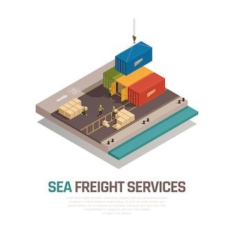 Composição isométrica de serviços de frete marítimo com carga de embarque em contêineres por guindaste no porto