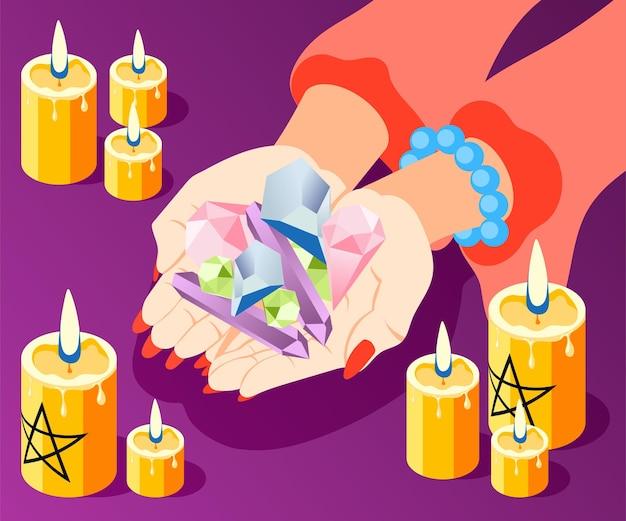 Composição isométrica de serviços mágicos com as mãos da cartomante segurando um monte de pedras com velas acesas.